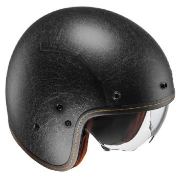 HJC FG-70S Vintage Flat Black Open Faced Motorcycle Helmet